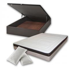 Pack de descanso, con canapé de madera con gran espacio de almacenamiento y colchón con tejido cashmere y visco.
