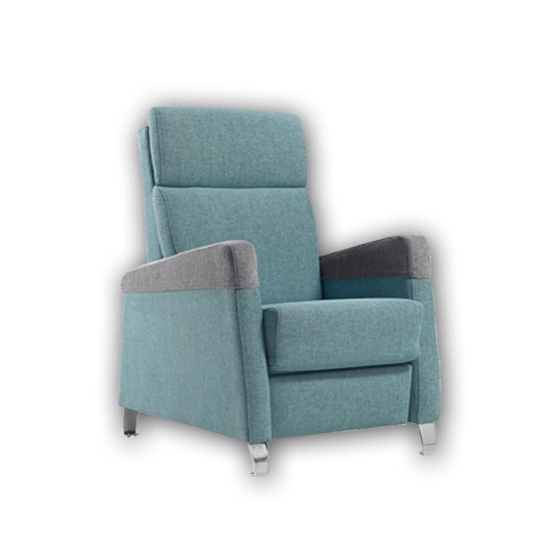 Butaca modelo Quira, color azul,  con respaldo alto fundas desenfundables