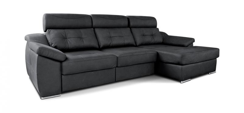Sofá 3 plazas mas chaiselongue con asientos deslizantes.