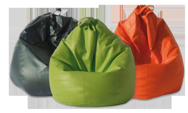 Pouf en forma de pera de diferentes colores.