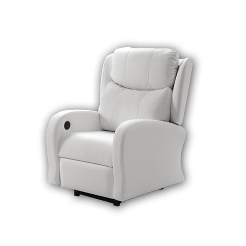 Sillón de color blanco modelo Alcor con sistema de relax automático