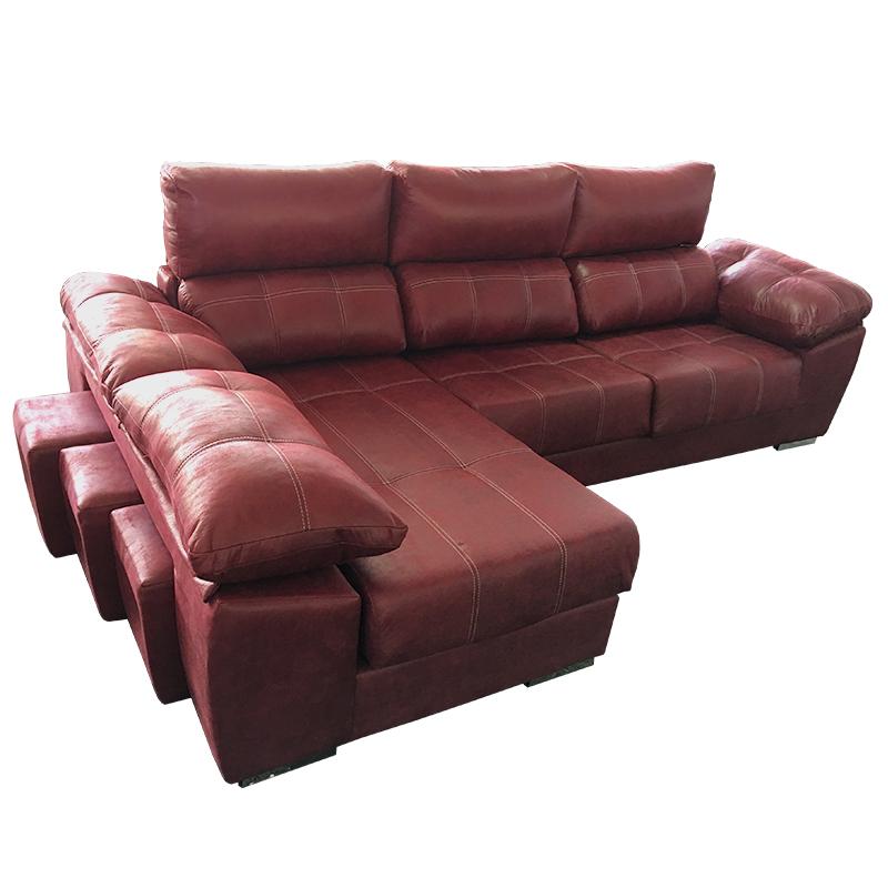 Sofà 3 plazas extensible con chaise longue con 3 puff en el brazo modelo Fresno reclinable.