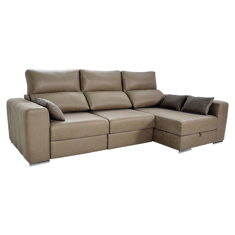Sofa 3 plazas modelo Megan, asientos extensibles y cabezal reclinable