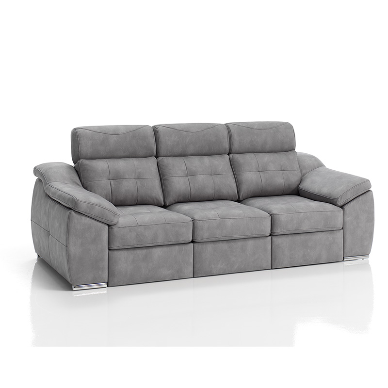 Sofá Modelo Nitro, 3 plazas, color gris, con asientos extraíbles y cabezal reclinable.