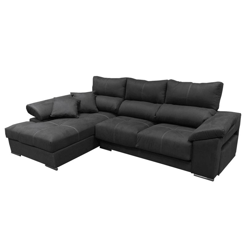 Sofá modelo Qatar color negro, con asientos deslizantes y cabezales reclinables incluye un puf