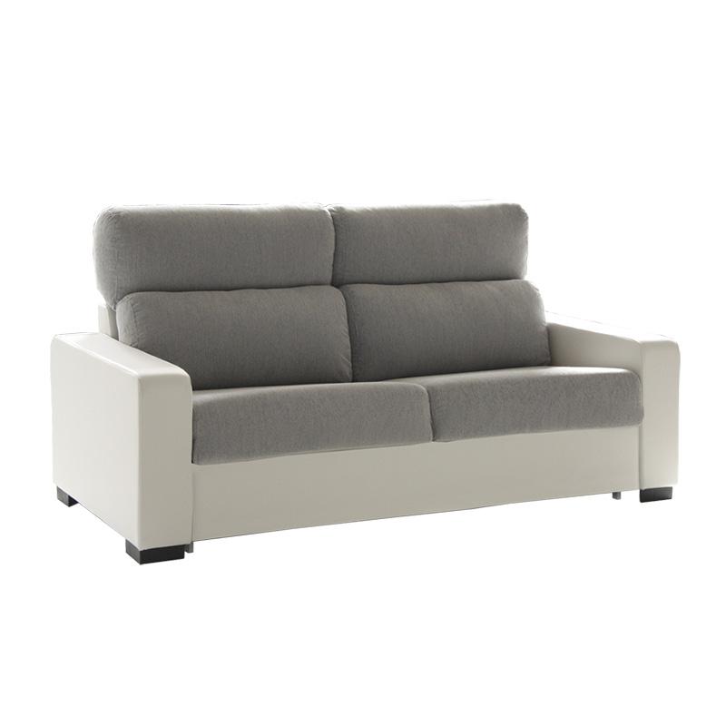 Sofá cama italiano modelo Lola, 2 plazas, bicolor gris y blanco.