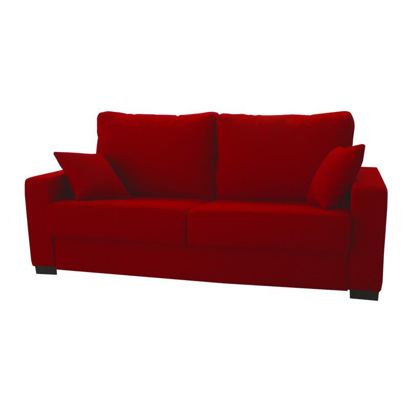 Sofá cama color rojo, dos plazas, modelo Eva.