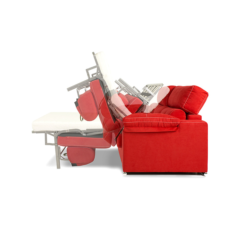 Sofá cama color rojo modelo Afrodita fácil apertura de cama, dispone de 2 plazas muy confortables.