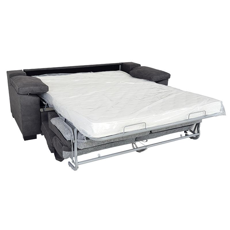 Sofá cama modelo Dona, color gris dos plazas, con mecanismo italiano