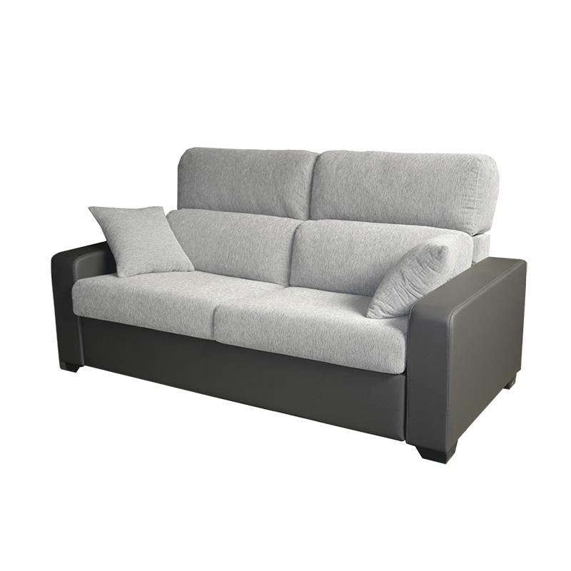 Sofá cama modelo Lola de 2 plazas bicolor gris oscuro y blanco.
