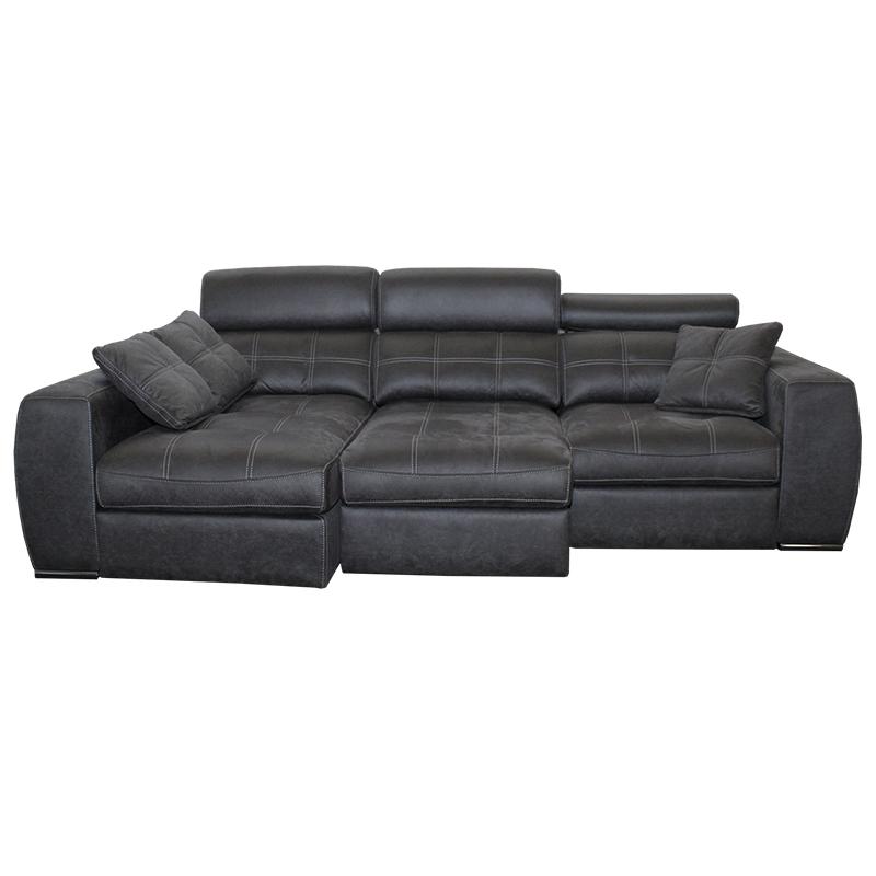 Sofá chaiselongue modelo Galaxy, 3 plazas con cabezales reclinables de presión plano.