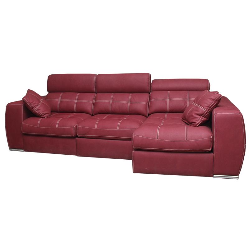 Sofá Chaiselongue Galaxy con arcón y fundas extraibles color rojo asientos extraíbles.
