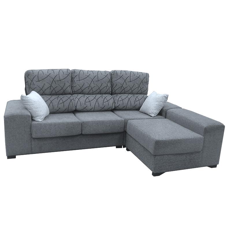 Sofá color gris modelo Plom con opción de arcón.