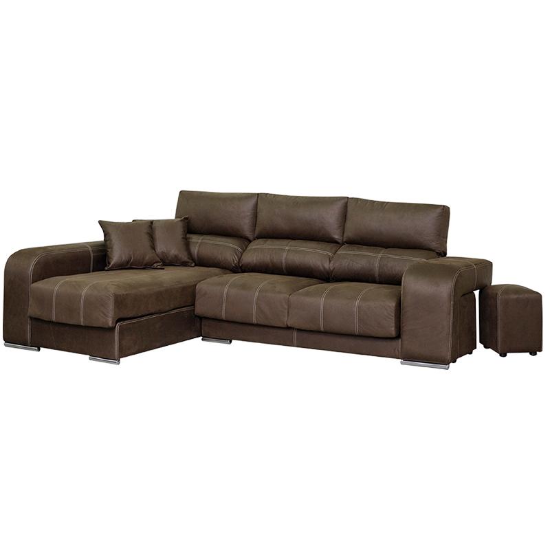 Sofá modelo Bugati, color marrón con asientos deslizantes y cabezales reclinables.