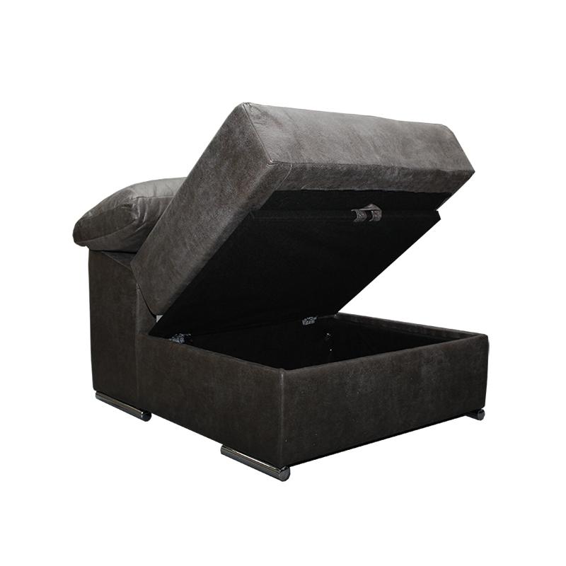 Sofá modelo Cobre, marrón, 3 plazas, con puf movible con arcón.