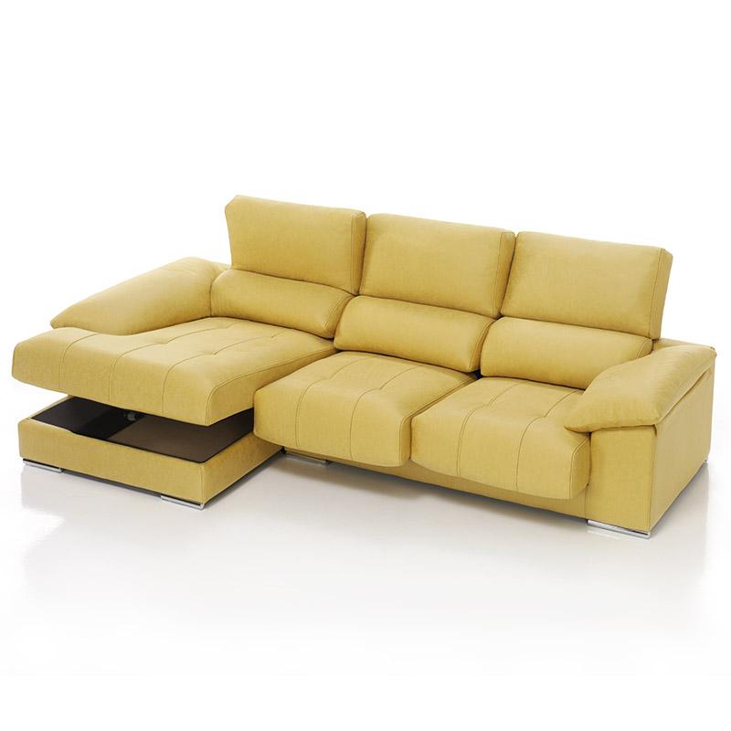 Sofá modelo Live con arcón, 3 plazas, color beige chaise longue.