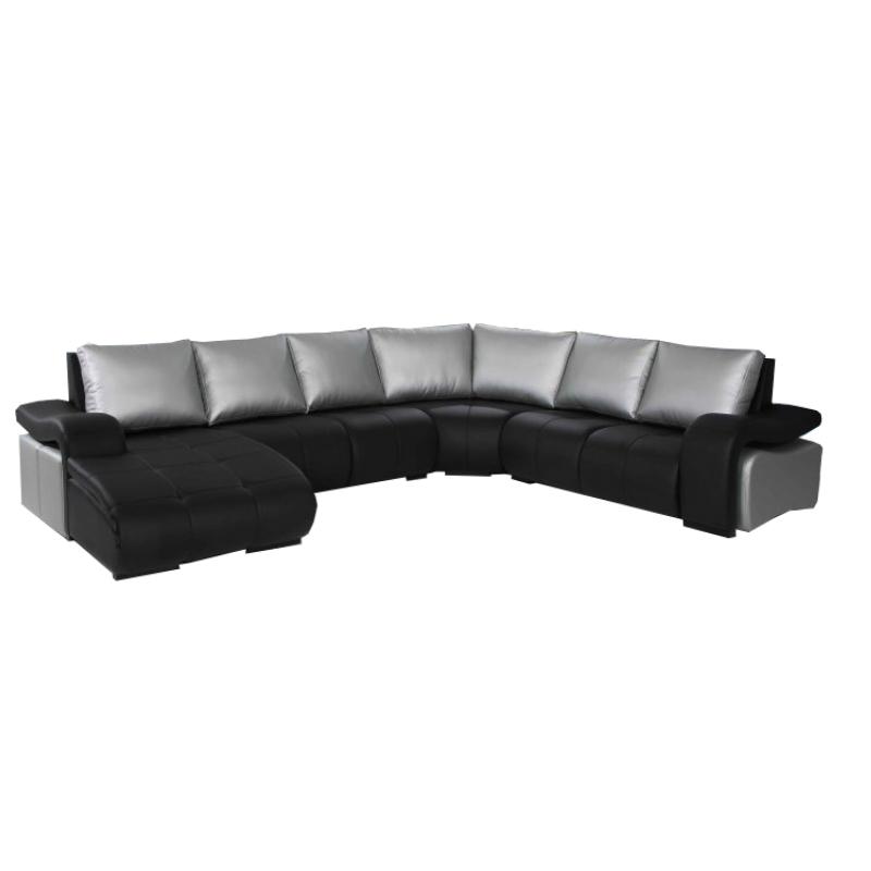 Sofá rinconera con chaiselongue. Incluye 3 pufs en los brazos y asientos deslizantes para un mayor confort.