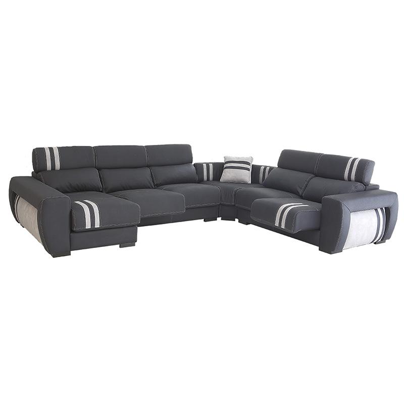 Sofá rinconera modelo Cadillac, bicolor, 6 plazas, con asientos deslizantes y cabezales reclinables.