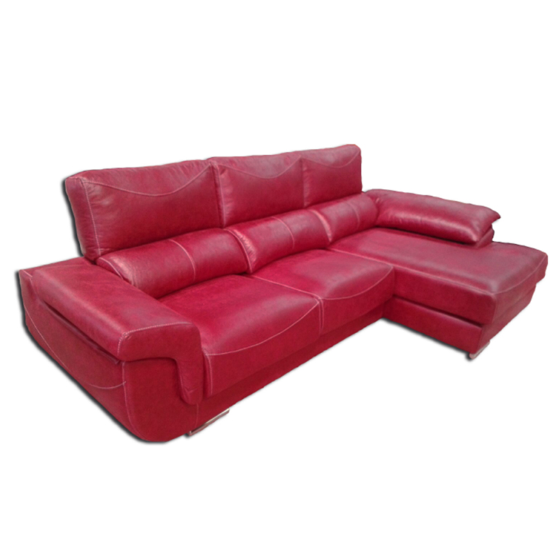 Chaselongue de color rojo con cabezal reclinable modelo Albano
