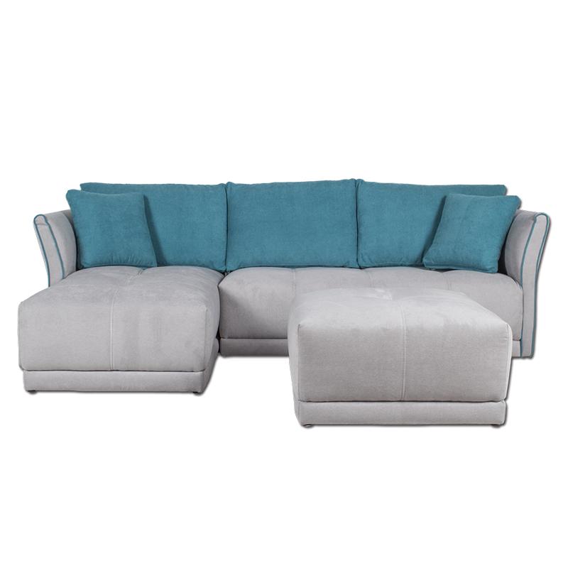 Sofá modelo Cristina color gris y azul turquesa con estructura de pino.