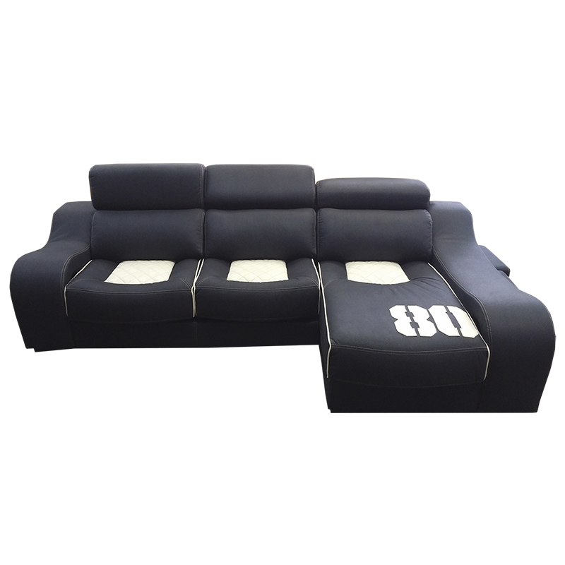 Sofá modelo California, con estructura de madera de pino, asientos deslizantes.