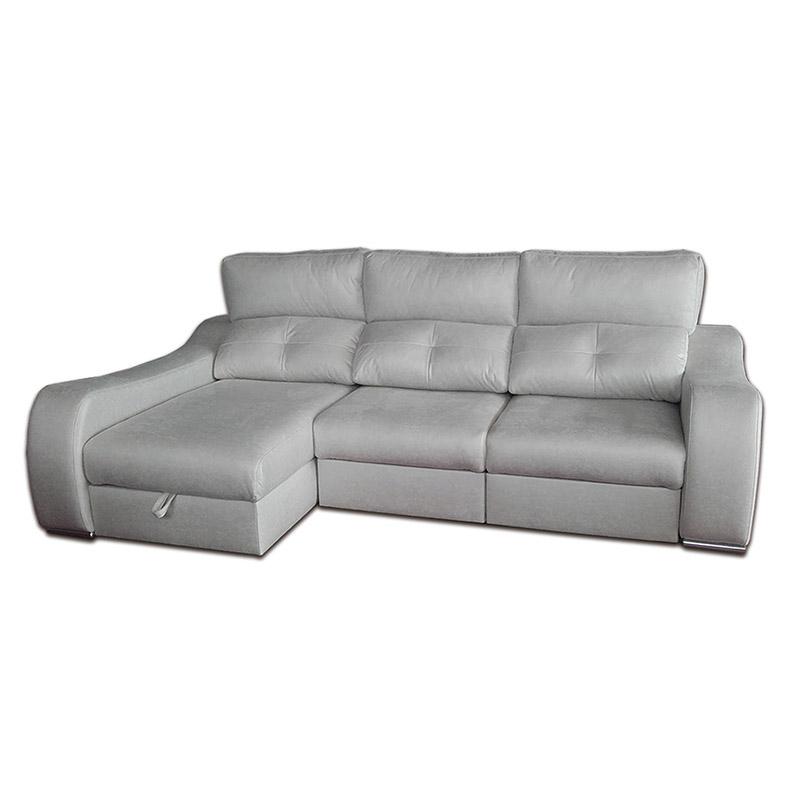 Sofá de madera y pino, con asientos extraíbles y cabezales reclinables.