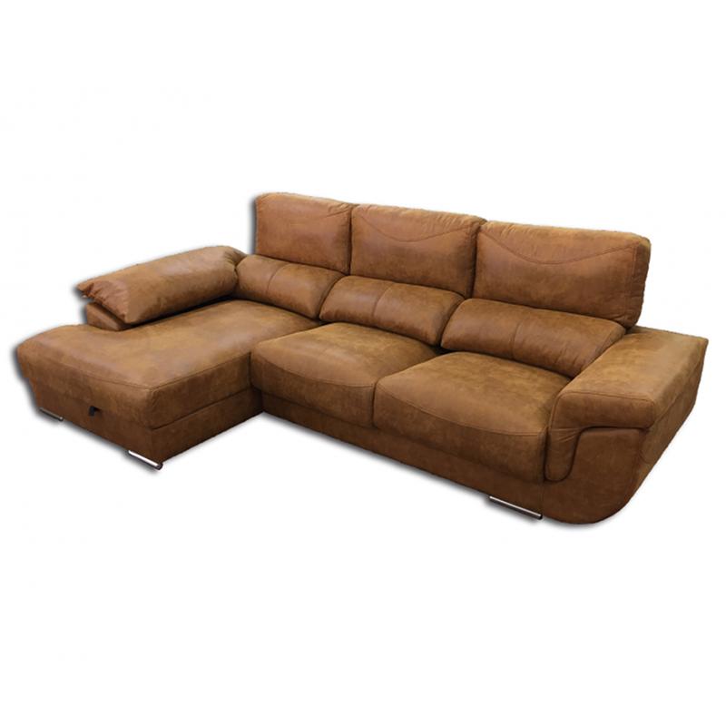 Sofá Chaselongue modelo Albano de piel color marrón con asientos deslizantes