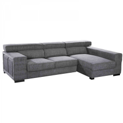 Sofá chaiselongue con asientos deslizantes y respaldo reclinable.