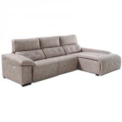 Sofá con estructura de pino modelo Romo, chaiselongue y cabezales abatibles, las fundas y el respaldo son desenfundables.