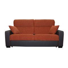 Sofá cama modelo Lola de 2 plazas bicolor naranja y marrón oscuro.