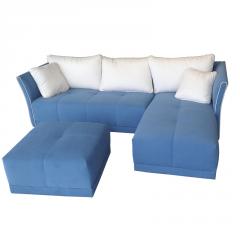 Sofá estilo Cheslong modelo Cristina muy confortable azul eléctrico.