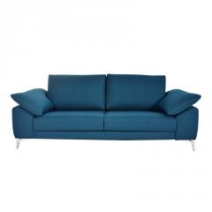Sofá modelo Lobby, elegante, 2 plazas, color azul, patas cromadas.