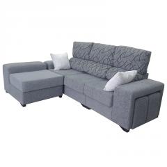 Sofá con pouf movible y poufs en el brazo, ideal para familias numerosas.