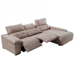 Sofá con estructura de madera chaise longue con opción de arcón