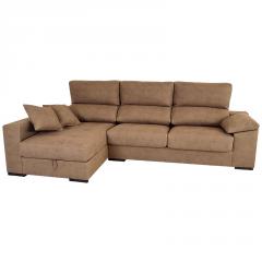Sofá Chaselongue con opción de arcón y cabezal que se puede inclinar de color marrón claro