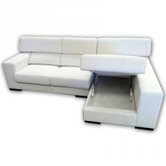Sofá Chaselongue modelo Algarve de color blanco con opción de alarcón y brazos puff