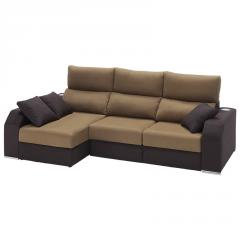 Sofá de líneas rectas con chaiselongue y deslizantes