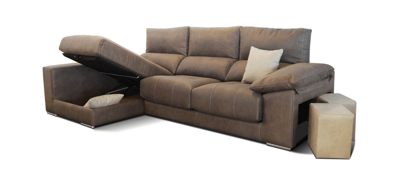 Sofá com chaise longue e arca Live Promo