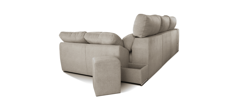 Sofá com chaise longue e puffs Elite